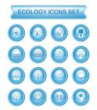 Het pictogramreeks van het ecologieembleem stock illustratie