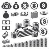 Het pictogramreeks van het geld en van het muntstuk. Stock Foto's
