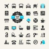 Het pictogramreeks van het hotelweb Stock Afbeeldingen