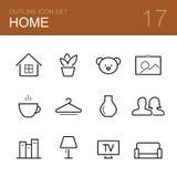 Het pictogramreeks van het huis vectoroverzicht Stock Fotografie
