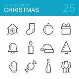 Het pictogramreeks van het Kerstmis vectoroverzicht Royalty-vrije Stock Afbeelding