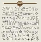 Het pictogramreeks van het keukenhulpmiddel en de reeks van het voedselpictogram Royalty-vrije Stock Foto's