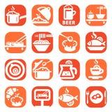 Het pictogramreeks van het kleurenvoedsel Stock Foto's