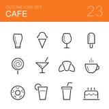 Het pictogramreeks van het koffie vectoroverzicht Stock Fotografie