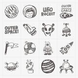 Het pictogramreeks van het krabbel ruimteelement Royalty-vrije Stock Afbeeldingen