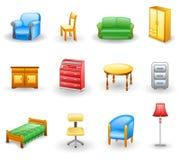 Het pictogramreeks van het meubilair Stock Afbeelding