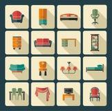 Het pictogramreeks van het meubilair Stock Afbeeldingen