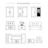 Het pictogramreeks van het meubilair Royalty-vrije Stock Foto