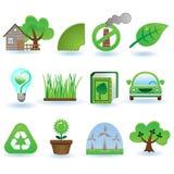 Het pictogramreeks van het milieu Stock Foto