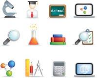 Het pictogramreeks van het onderwijs en van de wetenschap Stock Foto
