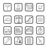 Het pictogramreeks van het overzichtsweb De bouw, bouw vectorhulpmiddelen Stock Afbeelding