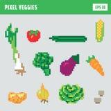 Het pictogramreeks van het pixel plantaardige spel Stock Afbeelding