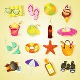Het pictogramreeks van het strand Royalty-vrije Stock Afbeeldingen