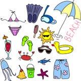 Het pictogramreeks van het strand, kinderen die, vector trekt royalty-vrije illustratie