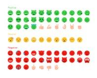Het pictogramreeks van het terugkoppelings emoticon vlak ontwerp vector illustratie
