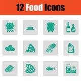 Het pictogramreeks van het voedsel Stock Afbeeldingen