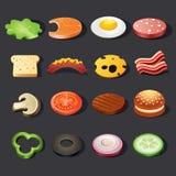 Het pictogramreeks van het voedsel Isometrische mening Royalty-vrije Stock Fotografie