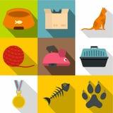 Het pictogramreeks van het kattenspeelgoed, vlakke stijl Royalty-vrije Stock Foto's
