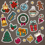 Het pictogramreeks van Kerstmis Stock Foto