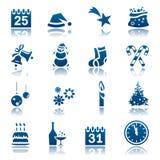 Het pictogramreeks van Kerstmis & van het Nieuwjaar royalty-vrije illustratie