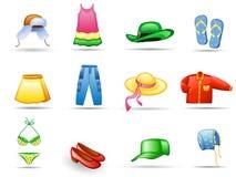 Het pictogramreeks van kleren Stock Foto