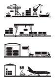 Het pictogramreeks van ladingsterminals Royalty-vrije Stock Afbeelding