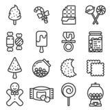 Het pictogramreeks van het lijnsuikergoed Stock Afbeeldingen
