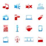 Het pictogramreeks van media Stock Afbeeldingen