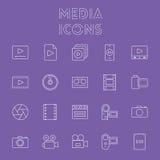 Het pictogramReeks van media Stock Foto's