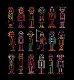 Het Pictogramreeks van neonmensen Stock Foto