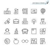 Het pictogramreeks van het onderwijsoverzicht royalty-vrije illustratie