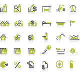 Het pictogramreeks van onroerende goederen Stock Fotografie