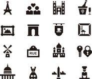 Het pictogramreeks van Parijs, Frankrijk Royalty-vrije Stock Afbeelding