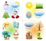 Het pictogramreeks van seizoenen. Stock Foto's