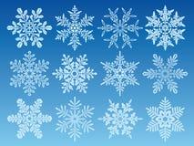 Het pictogramreeks van sneeuwvlokken Stock Fotografie