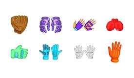 Het pictogramreeks van sporthandschoenen, beeldverhaalstijl vector illustratie