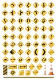 Het pictogramreeks van verkeers waakzame tekens Royalty-vrije Stock Afbeeldingen