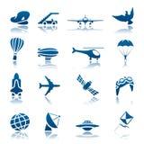 Het pictogramreeks van vliegtuigen Royalty-vrije Stock Fotografie