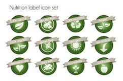 Het pictogramreeks van het voedingsetiket stock illustratie