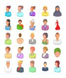 Het pictogramreeks van het vrouwensilhouet, beeldverhaalstijl Stock Fotografie