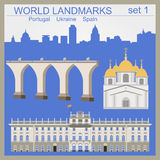 Het pictogramreeks van wereldoriëntatiepunten Elementen voor het creëren van infographics Royalty-vrije Stock Afbeelding