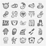 Het pictogramreeksen van de krabbelbaby Stock Foto's
