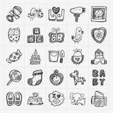 Het pictogramreeksen van de krabbelbaby Royalty-vrije Stock Afbeeldingen
