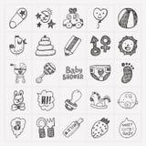 Het pictogramreeksen van de krabbelbaby Stock Afbeeldingen