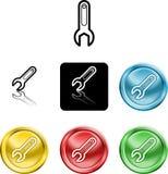 Het pictogramsymbool van de moersleutel Stock Foto