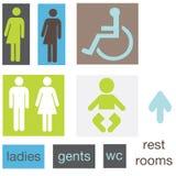 Het pictogramtekens van het toilet Stock Afbeeldingen