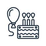 Het pictogramvector van de verjaardagsuitnodiging op witte achtergrond, het teken dat van de Verjaardagsuitnodiging wordt geïsole stock illustratie