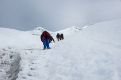 Het piek beklimmen van het Lobucheoosten, Everest-gebied, Nepal royalty-vrije stock fotografie
