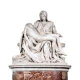 Het Pieta-beeldhouwwerk door Michelangelo op witte achtergrond wordt geïsoleerd die royalty-vrije stock foto's