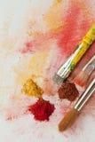 Het pigment en de borstels van de kunst Stock Afbeeldingen